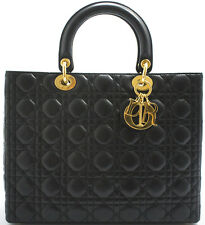 Lady Dior GM Christian Dior Handbag Handtasche Tasche Lambskin Lammleder Schwarz