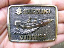 Vtg SUZUKI OUTBOARDS Belt Buckle BOAT Motor LOGO Boating LE Pewter RARE VG++