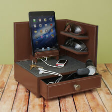 """Rustic Modern"" Corner Multi-Device Charging and Sunglass Station Dock Valet"