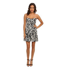 New Parker Britney Combo Tidal Camo Strapless Dress Small
