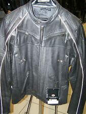 Harley Davidson Mens BOULDER Black Leather Reflective Jacket  97179-14VM M