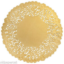 "25 - 12"" GOLD FOIL PAPER LACE DOILIES 