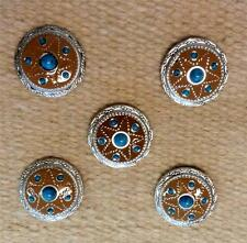 "5-1.5"" Antique Brown Silver Turquoise Bl Concho for Headstall spurs Chaps Saddle"