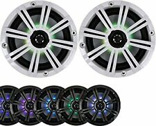 "2-Speakers Kicker 6.5"" 195W Marine Audio Coaxial Color LED Lights White Grills"