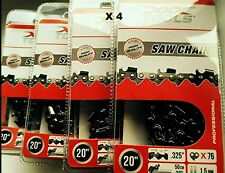 "4 x XXX POWERTOOLS 20"" Chainsaw Chains 76 Links, 0.058"" Gauge 1.5mm 0.325"" Pitch"