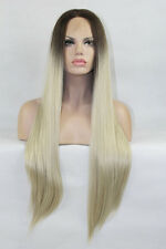 Custom Blonde Lace Front Hair Natural Long Straight Ombre Dark Root Womens wig