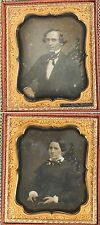 DAGUERREOTYPE 2 SIDED MOTHER OF PEARL CASE. MAN, WOMAN signed  1/6TH PLATE.