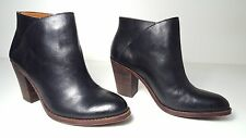 $139 size 10 Lucky Brand Eesa Black Leather Heels Ankle Boots Womens Shoes