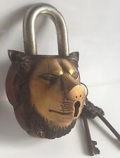 Lion Head LOCK HEAVY Big Padlock brass keys antique look Sing Pad Vintage lion