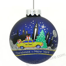 NYC Taxi Ornament, New York City Taxi Christmas Ornament, Glass Ball KA-C4130