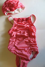 Janie and Jack Rosette One Piece Bathingsuit Swimsuit Sz 7 & Matching swim cap