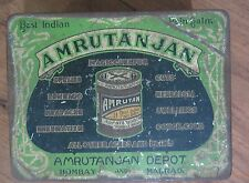 Vintage Ayurveda Medical TIN ADV. SIGN Box AMRUTANJAN best India Pain balm 1960