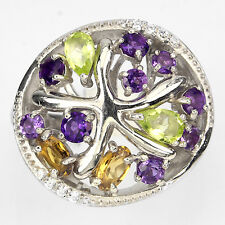 BEWITCHING NATURAL AMETHYST,PERIDOT,CITRINE,TOPAZ,W CZ STERLING 925 SILVER RING