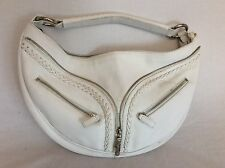 Versace White Pebbled Leather Hobo Bag Purse
