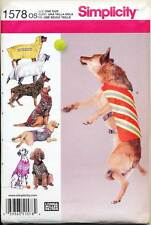 SIMPLICITY SEWING PATTERN 1578 LARGE SIZE DOG CLOTHES - T-SHIRT COATS VESTS ROBE
