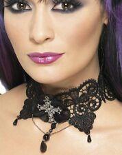 Vestito Per Halloween Donna Vampiro Gotico Collana Girocollo & Cross by Smiffys