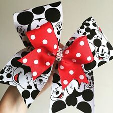 Deluxe Mickey Mouse Cheer Bow With Mini Bow Attached Disney Team Dance Hair Bow