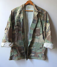 Mens Vintage Camo Jacket Shirt Camouflage Woodland Faded Military Short M