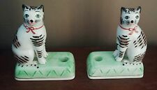 Rare pair of vintage THE HALDON GROUP  tiger striped cats candle holders