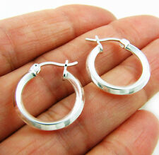 Small 925 Silver Hoop Square Edged Creole Hoops Earrings