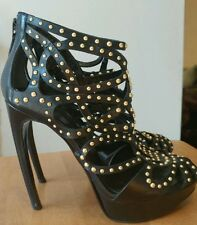 "Alexander McQueen Black Leather Studded Caged Platform ""Armadillo"" Heels SZ 38.5"