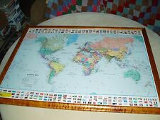 MAPQUEST.COM LAMINATED WORLD MAP PRINTING ERROR, VERY RARE !!, NO FRAME,  NICE