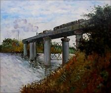 Claude Monet The Railway Bridge at Argenteuil Repro, Oil Painting20x24in