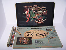 VINTAGE TOLE CRAFT PAINT BY #S ORIENTAL GARDEN METAL HANGING PICTURE TRAY W/BOX