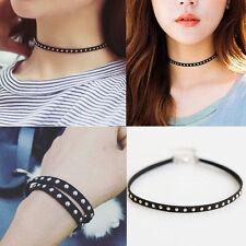 Charm Punk Black Leather Rivet Studded Choker Chunky Necklace Bracelet Jewelry