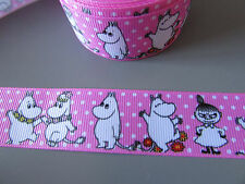 Moomin Pink Ribbon 2.5cm X 1 Metre   Sewing/Crafts/Cake