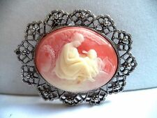 GORGEOUS VINTAGE ANTIQUE SILVER TONE CABOCHON MOTHER AND CHILD BROOCH!! A9