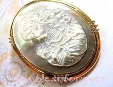 Vintage Carved Mother of Pearl Abalone Mother & Child  Cameo Pin/ Pendant WOW!