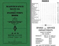 AJS Springtwin Model 20 1951 - Maintenance Manual and Instruction Book for 1951
