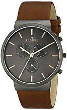 Skagen Ancher Chronograph Men's SKW6106 Grey Dial Leather Watch