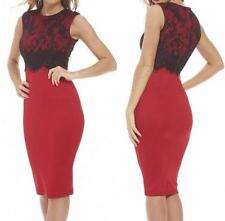 NEW WOMENS SLEEVELESS RED/BLACK LACE OVERLAY TOP SHORT SEXY DRESS--L 9146