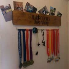 PERSONALISED Medal Display Hanger Board Male / Ladies Oak Stained(70cm Width)