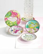 LILLY PULITZER CERAMIC COASTER SET of 4 CHEERS Cocktail Drink Coasters Gift NEW