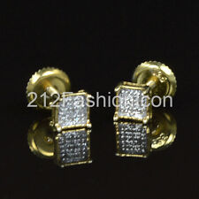 Mens Ladies Silver Yellow 14k Gold Gp Real Genuine Diamond Earrings Square Studs