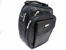 UNISEX GENUINE BLACK LEATHER MESSENGER MAN BAG SHOULDER BAG CROSSOVER BODY STRAP