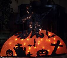 HALLOWEEN OUTDOOR LIGHTED TINSEL FLYING WICKED WITCH FIGURE MOON GRAVE YARD PROP
