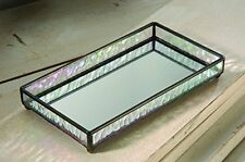J Devlin TRA 101 Glass Tray with Mirrored Bottom Vanity Jewelry Organizer 9 x 5