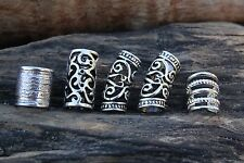 Mix of 10 Silver DREADLOCK BEAD MIX 7mm-10mm Hole