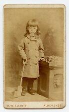 Girl with Toy Shovel,  CDV Photo by R.W. Elliot, Aldershot