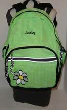 L.L. BEAN Personalized Name LINDSEY Green Plaid Backpack Book Bag Laptop Tablet