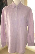 Tommy Bahama Size S/P Purple 100% Linen Button Front Long Sleeve Shirt