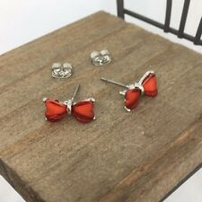 Red Ribbon Crystal Titanium Post Stud Earrings Made in Korea US Seller