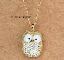 QUALITY GOLD SHINING CRYSTAL ADORABLE 3D OWL PENDANT LONG CHAIN NECKLACE GIFT