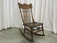 Antique Light Walnut Pressed Back Rocker Wonderful Condition w Turned Spindles