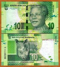 South Africa, 10 rand, ND (2012), Pick 133, UNC   Mandela, Rhino