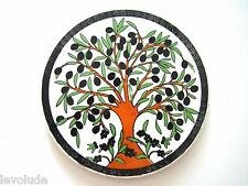 Handmade Pottery Turkish Kutahya Ceramic 6,5''  Hot Plate -Trivet Olive Tree